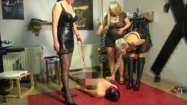 3 Dominas pissen einem Sklaven ins Maul! Teil 1